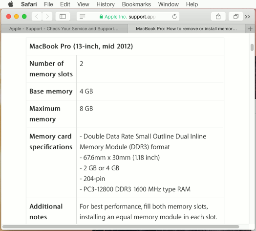 Apple Mac memory specifications