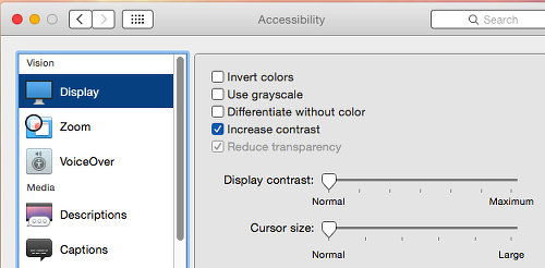 Increase contrast in OS X