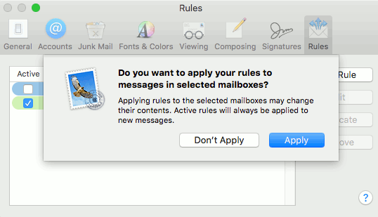 Mail rules in OS X