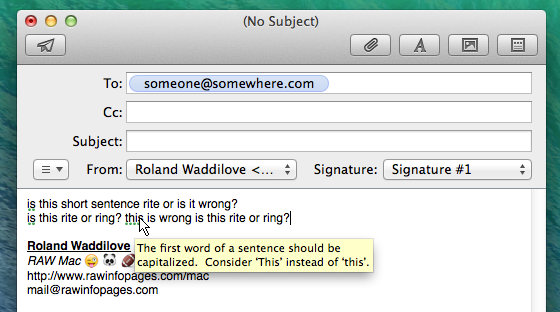 Spelling and grammar in Mail in OS X