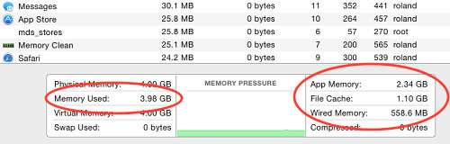 Activity Monitor memory usage