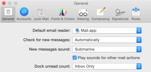 Mail app on the Apple Mac