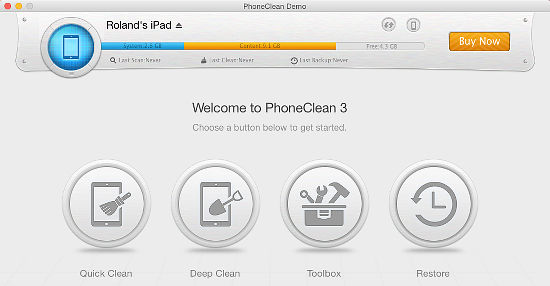 PhoneClean app for OS X