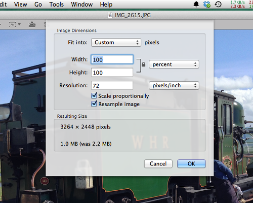 Resize images in Preview