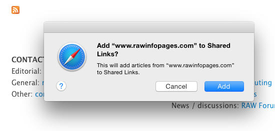 Add RSS feed in Safari