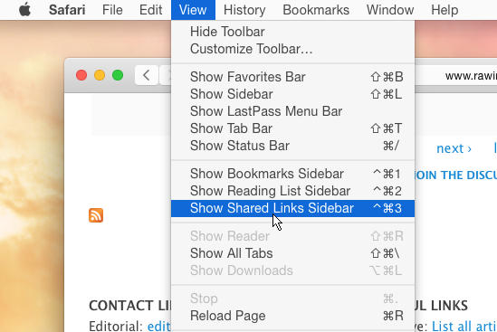 View Shared Links Sidebar in Safari