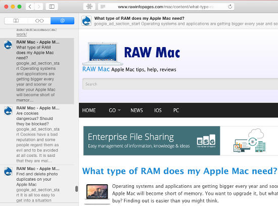 RSS feeds in Safari's sidebar