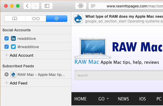 Manage RSS feeds in Safari