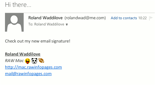 Mail signatures in OS X