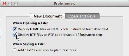 TextEdit preferences display RTF files as code