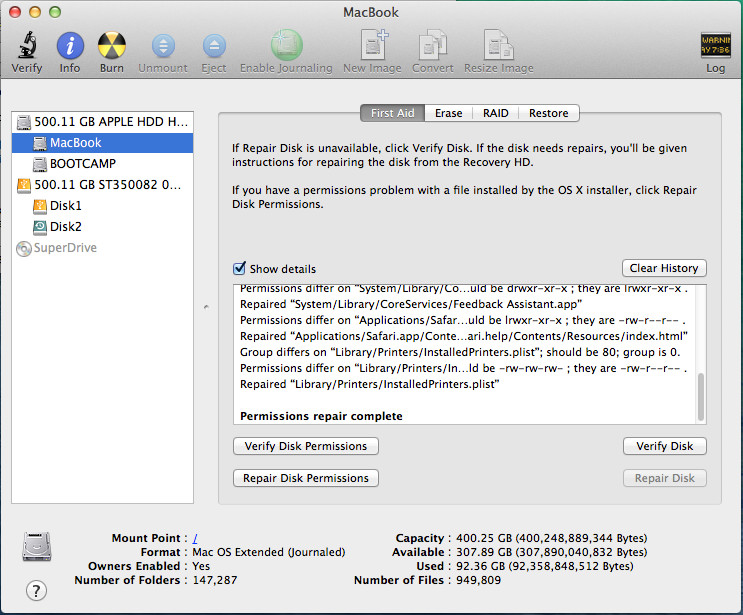 Repair the Mac's disk with Disk Utility