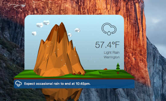 3D Weather Free app for the Apple Mac OS X