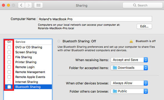How to turn off airdrop on mac air