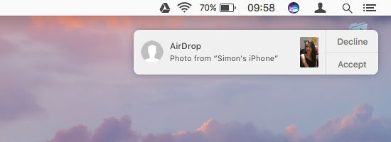 Transfer files on the Apple Mac using Airdrop