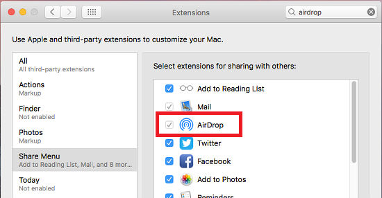 Share Menu items in macOS on the Apple Mac