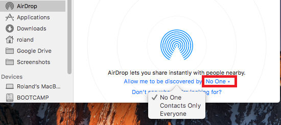 Restrict the people that can send you files using AirDrop on the Apple Mac