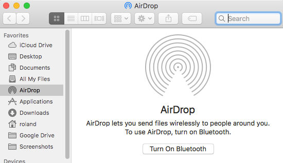 Bluetooth needs to be turned on for AirDrop to work on the Apple Mac
