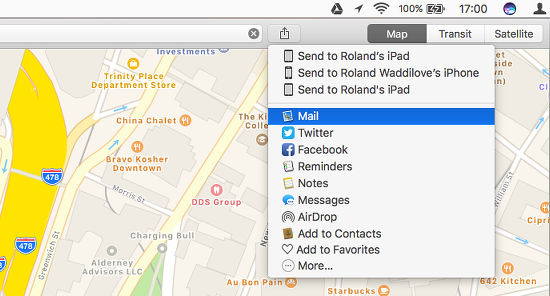 The share features in the Maps app on the Apple Mac