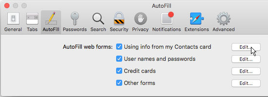 AutoFill in Safari in OS X
