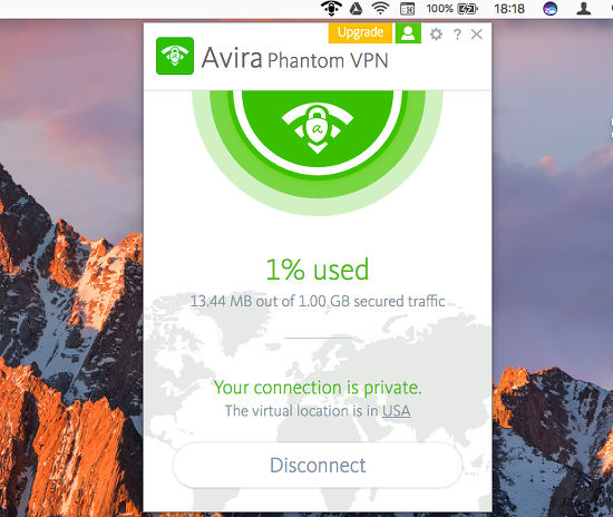 Avira Phantom VPN on the Apple Mac