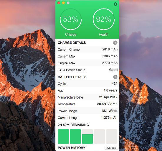 Battery Health 2 app for the Apple Mac shows everything you need to know about the battery