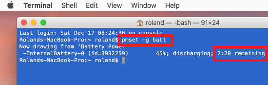 Get the battery time remaining by running pmset at the Terminal in macOS Sierra