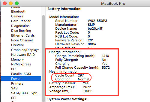 MacBook battery health and cycle count