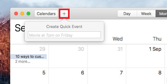 Create a quick event in the Calendar app on the Apple Mac