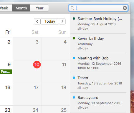 Get an agenda list of upcoming appointments in the Calendar app on the Apple Mac