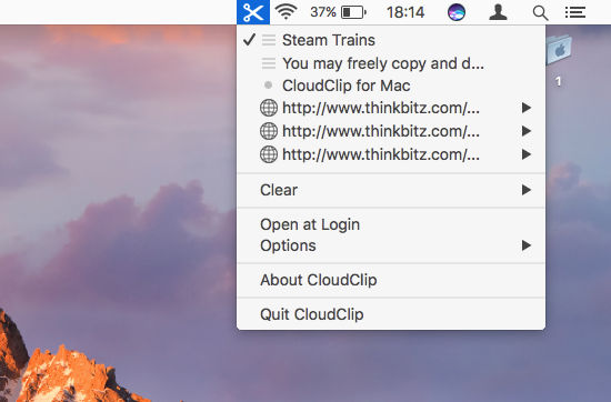 CloudClip multiple clipboard utility for the Apple Mac