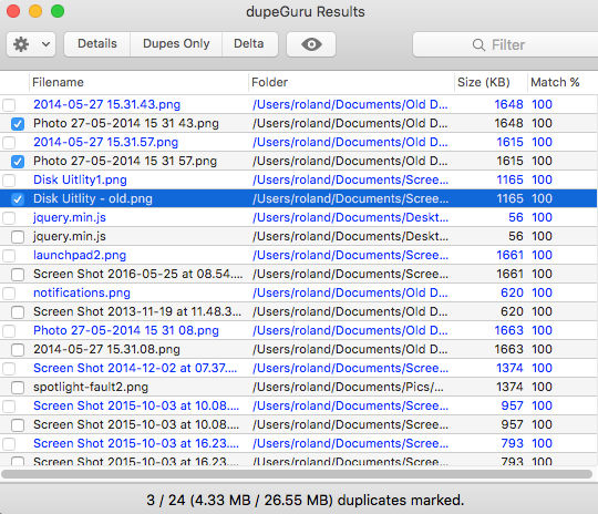 Find duplicate files on the Apple Mac's disk with dupeGuru