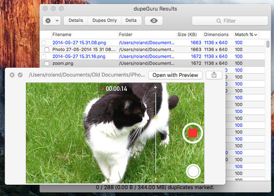 View duplicate files before deleting them on the Apple Mac disk