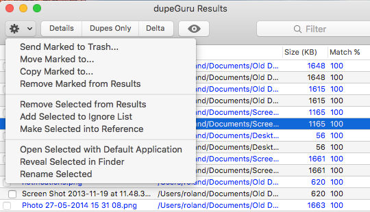 Delete duplicate files on the Mac disk with dupeGuru
