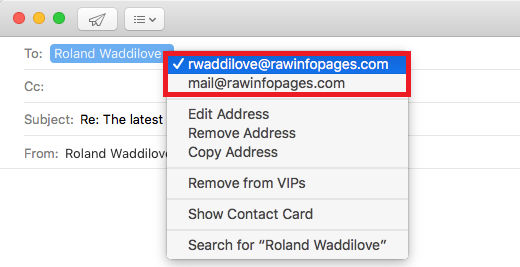 Check the email address of the person you are replying to in the Mail app on the Apple Mac