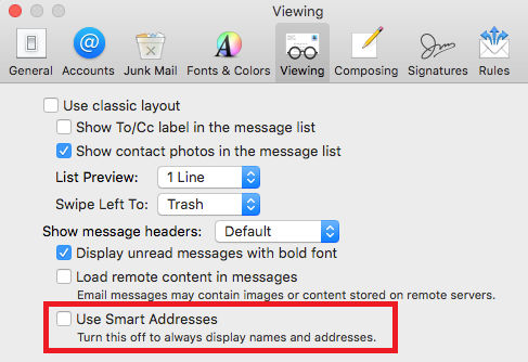 Clear the tick against Smart Addresses in Mail on the Mac to see email addresses