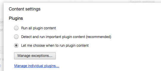 Disable plugins in Google Chrome and only run them when you click them