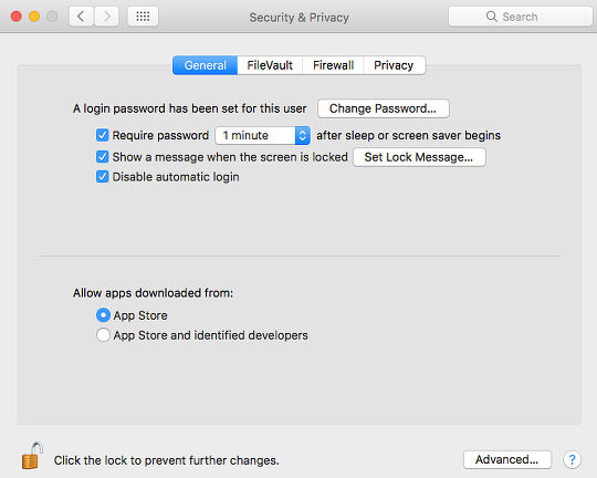 The Gatekeeper options in System Preferences in macOS Sierra on the Apple Mac