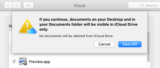 Turn off syncing Desktop and Documents folders with iCloud Drive on the Apple Mac
