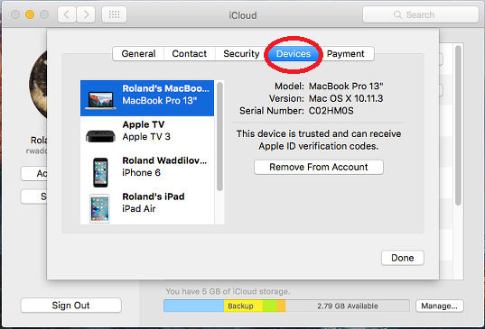 iCloud preferences in OS X