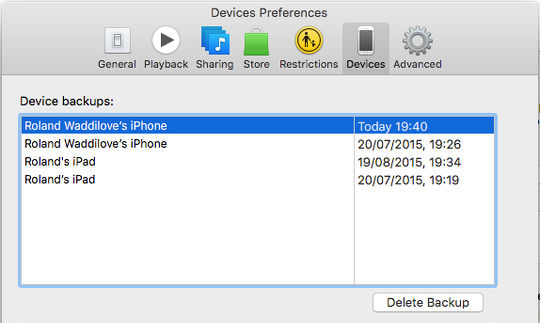 View the iPhone and iPad backups stored in iTunes on the Apple Mac
