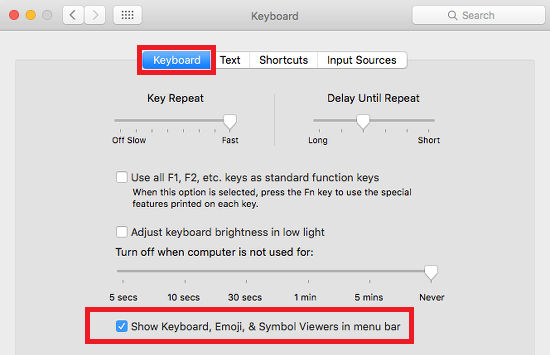 The Keyboard option in System Preferences in OS X on the Apple Mac
