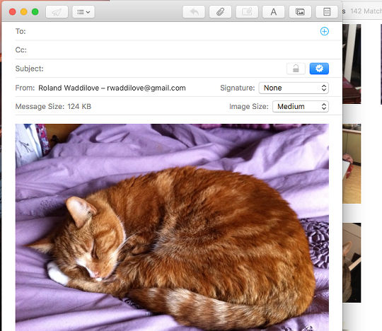 Insert photos into email messages on the Apple Mac