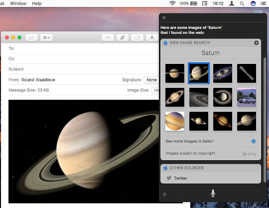 Find images with Siri on the Apple Mac and drag and drop them into email messages in macOS Sierra