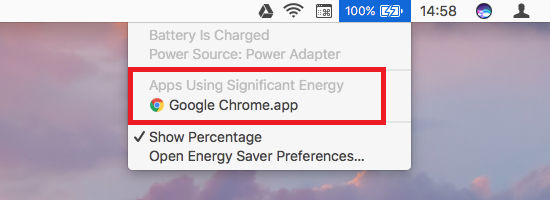 See which apps are using the most battery on the Apple Mac running mac\OS Sierra