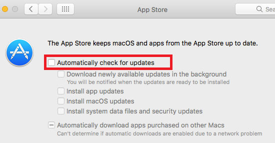 Turn off automatic updates for macOS Sierra