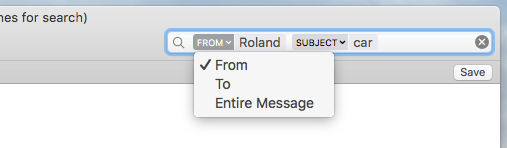 Advanced searching for emails in the Mail app on the Apple Mac