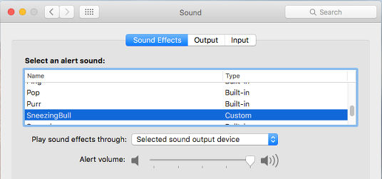 System sounds volume on the Apple Mac