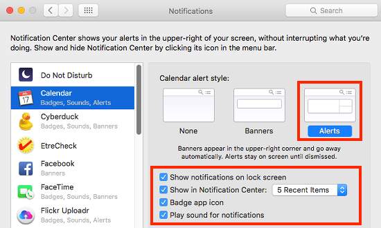 System Preferences - Notifications