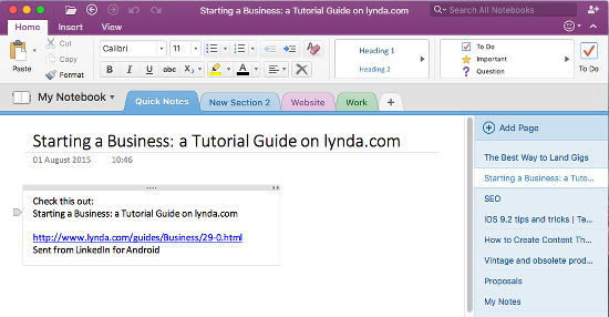 OneNote on the Apple Mac