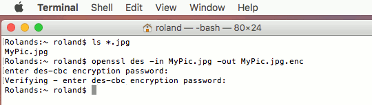 How to encrypt files from the command line on the Apple Mac using